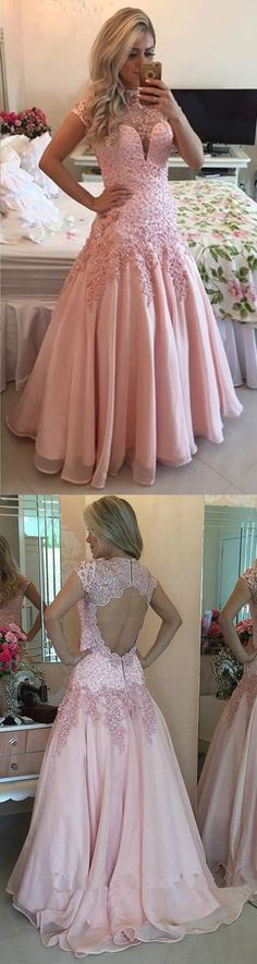 Short Sleeve Prom Dresses Pink, Long Party Dresses High Neck, Chiffon Tulle Formal Evening Gowns Modest Pearl Detailing