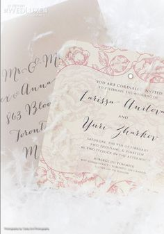 Winter inspired invitations by Meg Pike Designs, as seen on www.wedluxe.com/drzhivago