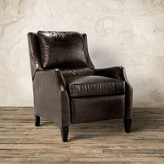 609857488308 The Arhaus vintage-inspired Alex Leather Recliner in Old West Vintage  features aniline-dyed premium leather fitted to create a streamlined  silhouette.