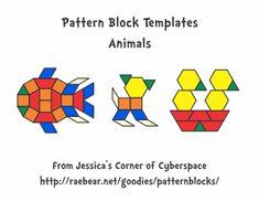 Free for kids: Pattern Block Templates - Animals