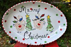 Baby Handprint / Footprint Christmas plate.