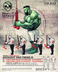 tricep exercise: tricep extension compount set - hulk Tricep Extension, Sparta Gym, Gym Workouts, Hulk Superhero, Superhero Workout, Powerlifting, Weightlifting, Fitness Diet, Fitness Motivation