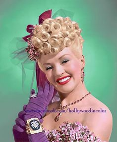 Betty Grable with her iconic poodle hair
