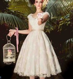 Short and Tea Length Wedding Dresses : Vintage Retro Tea Length Wedding Dress 2 Short Wedding Gowns, Lace Wedding Dress, Western Wedding Dresses, 2015 Wedding Dresses, Tea Length Wedding Dress, Bohemian Wedding Dresses, Bridal Dresses, Flower Girl Dresses, Bridesmaid Dresses