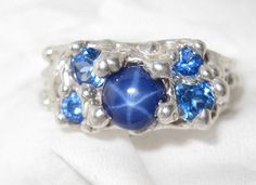 Blue Star Sapphire Ring Artist Signed 1ct  by TreasuringsJewelry, $88.00