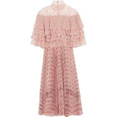 Valentino Valentino - Ruffled Printed Silk-chiffon Dress - Blush (€5.535) ❤ liked on Polyvore featuring dresses, ballerina dresses, ballet dress, tiered ruffle dress, pink pleated dress and pleated dresses