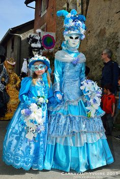 Mother and daughter in brilliant blue at carnival of Venice 2015 Flickr - Photo Sharing!