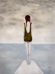 Summer swimming art modern figurative girl art by inapaleplace, $17.00