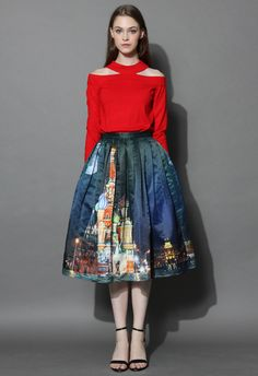 Saint Basil's Night Pleated Midi Skirt - Retro, Indie and Unique Fashion
