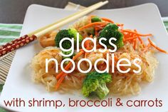 Glass Noodles with broccoli and carrots. I made this tonight minus the shrimp and used all of the sauce for the noodles. I WAS DELICIOUS! I would add peanuts next time. H wasnt thrilled with it. Shrimp And Broccoli, Good Food, Yummy Food, Asian Recipes, Yummy Recipes, Main Meals, Food For Thought, Noodles, Carrots