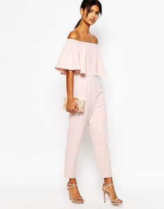 pink off the shoulder jumpsuit. Image 4 of ASOS Jumpsuit with Ruffle Bardot ca98bb4e4