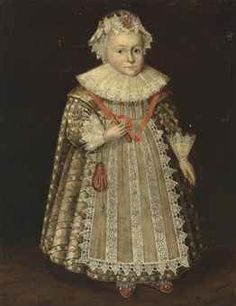 FOLLOWER OF MARCUS GHEERAERTS II PORTRAIT OF ANNE FISHER (1585-1660), FULL-LENGTH, IN A RICHLY EMBROIDERED WHITE DRESS WITH FLOWER ORNAMENTS, LACE CUFFS AND A RUFF, WEARING A JEWELLED LACE BONNET