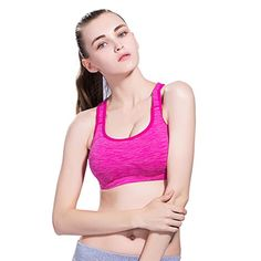 FaceRain Womenns Sexy Space Dye Strappy Cross Back Sport Bra RoseM -- Check out this great product.