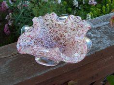Vintage Murano Pink Adventurine Glass Folded Bowl by BokBoksNest.        https://www.etsy.com/listing/158201667/vintage-murano-pink-adventurine-glass?ref=shop_home_feat_3