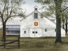 Starburst Quilt Block Barn by Billy Jacob Country Americana Art Print- 8x10