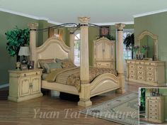 Yuan Tai Chatsworth 4 Piece King Poster Bedroom Set, offered by Iron and Metal Beds Store, browse our great selection of Leather Bedroom Sets Four Poster Bedroom, Bedroom Posters, Luxury Bedroom Sets, Luxurious Bedrooms, Romance In Bed, Interior Decorating, Interior Design, House Styles, Master Bedrooms