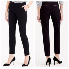 "J.crew Back Zip Pants in Bonded Crepe, Black J.crew Back Zip Pants in Bonded Crepe. Color. Black. Size 10, regular. 27 1/2"" inseam.  Material 74% polyester, 23% viscose and 3% elastane. Side zip. Medium rise, Sits below waist.   Straight through hip and thigh, with a slim leg.The sleek silhouette is made from a heavyweight bonded crepe that has been backed with a knit fabric has structure. Exposed zips at the back add just a bit of edge. Off-seam slant pockets, back welt pockets. Dry clean…"