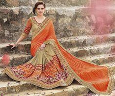 Orange & Golden Color Crush Party Wear Sarees : Swabhimaan Collection  YF-40020