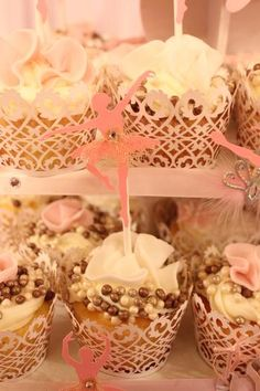 Hostess with the Mostess® - Ballerina Theme Baby Shower - love the pink, gold & lace.