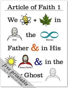A Year of FHE // Article of Faith memorization poster No. 1 - These are so great for Primary, Family Home Evening, or Activity Days! Fhe Lessons, Primary Lessons, Primary Activities, Church Activities, Activity Day Girls, Activity Days, Family Home Evening, Family Night, Primary Singing Time