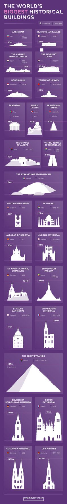 The World's Biggest Historical Buildings Infographic