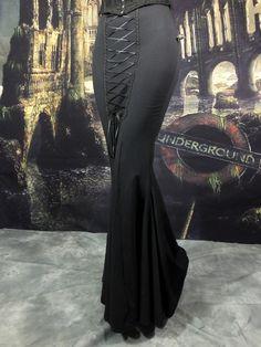 Morvoren Skirt - long cotton lycra fishtail gothic steampunk skirt by Moonmaiden Gothic Clothing UK