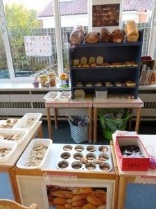 At the bakery. Dramatic Play Area, Dramatic Play Centers, Childrens Play Kitchen, Role Play Areas, Kindergarten Themes, Cardboard Crafts, Cardboard Playhouse, Kiddie Pool, Fake Food