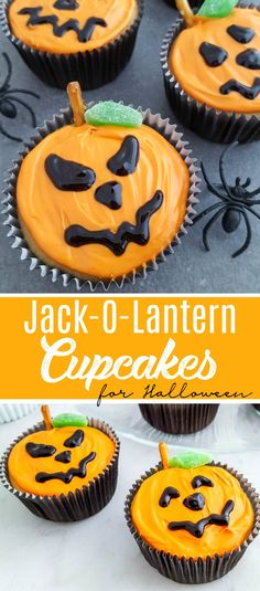 Easy Jack O Lantern Cupcakes for Halloween. Shared by Where YoUth Rise.