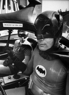 Batman Adam West (R) and Robin Burt Ward (in bat-mobile) during shooting of scene.