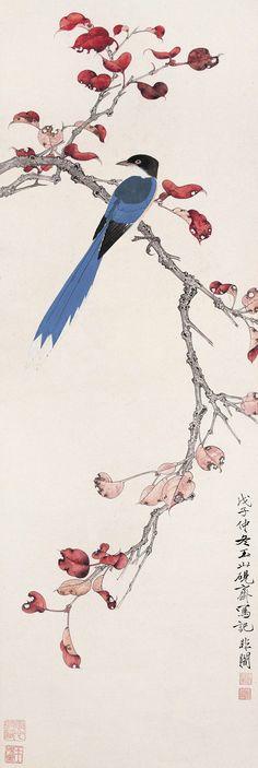 Yu Feian(于非闇) ,《红叶栖禽》立轴,1948年作
