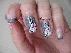 Grey with one stroke pink flower by Cajanails - Nail Art Gallery nailartgallery.nailsmag.com by Nails Magazine www.nailsmag.com #nailart