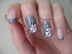 Grey with one stroke pink flower by Cajanails - Nail Art Gallery nailartgallery.nailsmag.com by Nails Magazine www.nailsmag.com #nailart