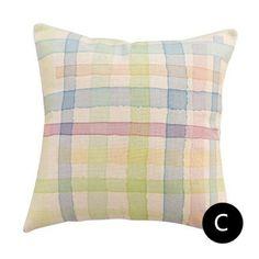 Colorful plaid throw pillows for living room watercolor geometric cushions Plaid Throw Pillows, Geometric Cushions, Grey Couches, Decorative Pillows, Colorful, Watercolor, Living Room, Interior, Grey Sofas
