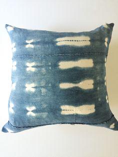 Vintage African Mudcloth Indigo Blue Pillow, Vintage, Ethnic, Boho by PoppySalon on Etsy https://www.etsy.com/listing/256319349/vintage-african-mudcloth-indigo-blue