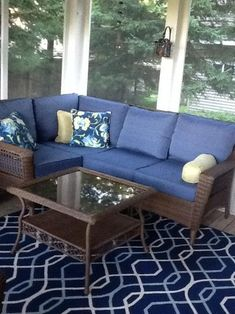 Hampton Bay Spring Haven Brown All Weather Wicker Patio Sectional Seating  Set With Sky Blue Cushions At The Home Depot   Mobile