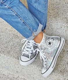 fc4c6fd6f5a9fd Because who doesn t love a our All Star Hi Trainers in Silver White Sequin  straight from our bio.