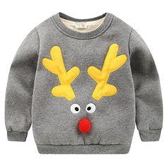 Happy Cherry - Infante Ropa Sudadera de Niños Unisex para Invierno Dibujo de Reno de Navidad Grueso con Terciopelo Chandal Deportivo Sweatshirt Winter Kid - Gris #modainfantil #modanavidad #ropainfantil #ropanavidad