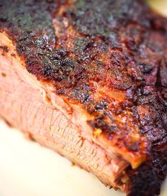 Check out this tasty smoked brisket recipe and use your electric or gas slow smoker and hickory wood chips. Smoked Beef, Smoked Brisket, Smoked Ribs, Barbacoa, Grilling Recipes, Meat Recipes, Game Recipes, Sausage Recipes, Traeger Recipes