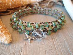 Beachy bohemian crochet wrap bracelet / necklace / by slashKnots,