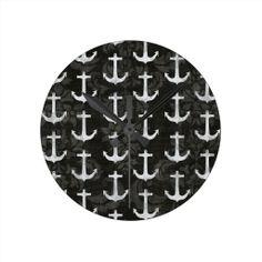 Vintage white wood nautical anchors black damask clock