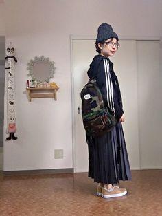 プリーツスカート|ジャージ×プリーツスカート