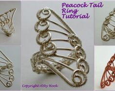Peacock Tail Ring, Wire Jewelry Tutorial, Instant Download PDF File
