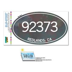 92373 Redlands, CA - Metal Design - Oval Zip Code Sticker