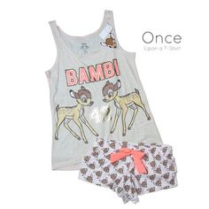 PRIMARK Ladies DISNEY BAMBI '42 FOIL PRINTED Vest and Shorts Pyjama Set #Primark #PyjamaSets #Everyday