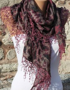 Multicolor Scarf  Headband Necklace Cowl with Lace by fatwoman, $17.00