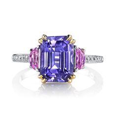 Lavender Sapphire, Pink Sapphire & Diamond Ring