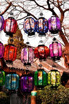 Brightly coloured lanterns grouped together and hung from branches #boho #garden #summer