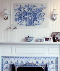 Delft tile fireplace - Handmade tiles can be colour coordinated and customized re. shape, texture, pattern, etc. by ceramic design studios