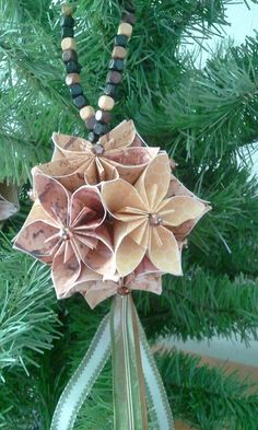 3d origami kusudama ornament BROWN by akvees on Etsy, $30.00