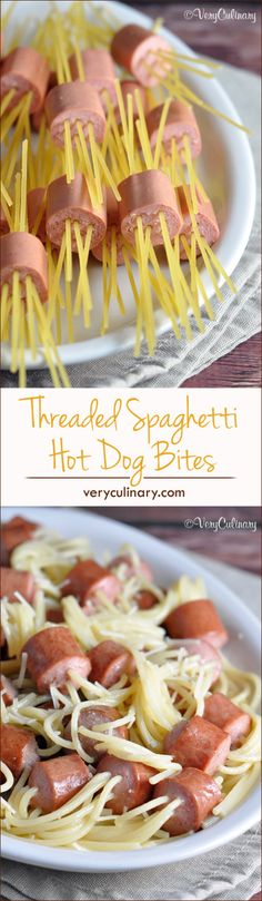Raw spaghetti is threaded through pieces of hot dog, then cooked. Kids and grown-ups alike will love this fun dish!